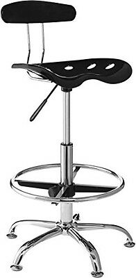 OneSpace 60-101605 Drafting Stool with Tractor Seat, Black