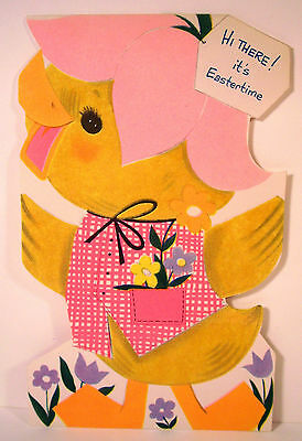 vintage unused die cut Buzza Cardozo Easter card flocked duck w/ pink hat vest