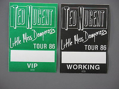 Ted Nugent backstage passes AUTHENTIC TWO Little Miss Dangerous Tour 1986!