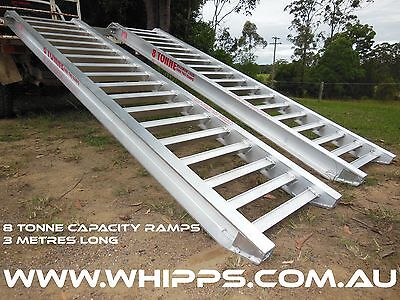 8.0 Tonne Capacity Machinery Loading Ramps 3 metres x 500mm track width