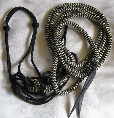 Black Rope Halter w 12ft Lead with Loop in Black/Beige ZZ by Natural Equipment