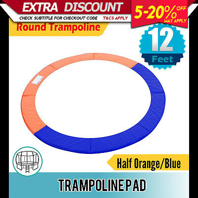 Trampoline Pad Round Reinforced Safety Spring Cover 12FT Half Orange/Blue