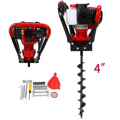 """2.3HP 56cc Power Engine Gas Powered One Man Post Hole Digger + 4"""" Auger Bits CE"""