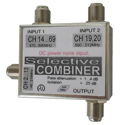 Combiner for 3 antennas, VHF + 2x UHF combiner, combiner VHF+UHF+ select 2CH-UHF