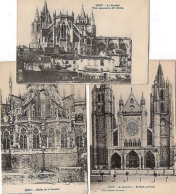 Old Postcards Spain :  León - La Catedral  - Cathedral (Lot of 3)