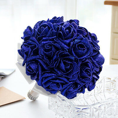 Schiuma Glitter artificiale Rose fiori Bouquet sposa Wedding Party Home Decor