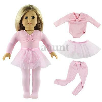 Pink Handmade Clothes Ballet Dress Skirt Set Gift Fits 18'' American Girl Doll