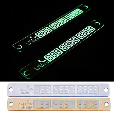 New Car Temporary Parking Card Night Light Phone Number Plate Craft Vehicle Gold