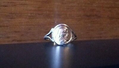 OOAK 9ct Rose & Yellow Gold Georg Jensen Virgin Mary Signet Ring Size O