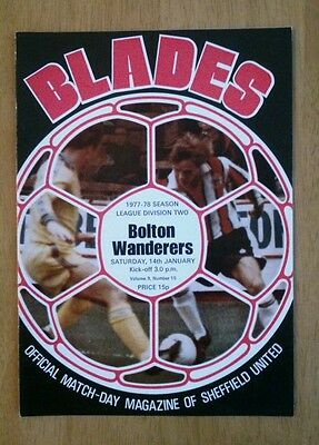 1977/78 SHEFFIELD UNITED v BOLTON WANDERERS - EXCELLENT CONDITION