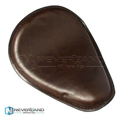 """12.2x9.8"""" Leather Cushion Solo Front Driver Seat For Harley Bobber Chopper Brown"""