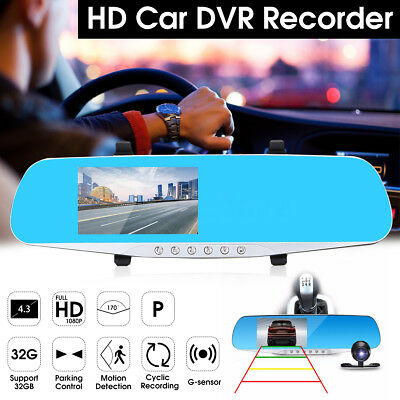 "Full HD Car Rear View Kit 4.3"" LCD Mirror Monitor With Free Reversing Camera AU"
