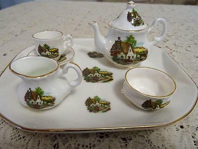 Royal Doulton Eurostar Railway Tray & Newhall Staffordshire Cottage Mini Tea Se
