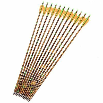 """12x 30"""" Long Aluminum Arrows Camo Shaft Spine 300 for 30-80lbs Compound/Long Bow"""