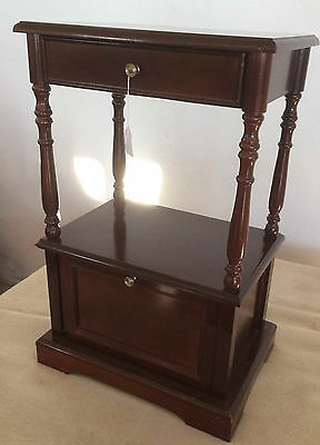 Mahogany Side Table / Stand with Drawer and Storage Cupboard