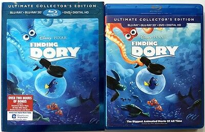 Disney Pixar Finding Dory 3D Blu Ray Dvd 4 Disc Set+ Lenticular Slipcover Sleeve