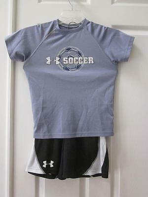 Under Armour Kids 2 Pc Gray Soccer Shirt & Black Shorts Outfit Sz YSM