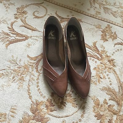 Vintage Ladies K Shoes Brown Leather Low Court Shoes Pointed Uk 6.5 Clarks