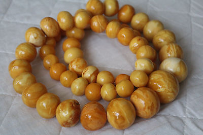 Huge 250 Gram Antique Amber Necklace - Very Rare Butterscotch Baltic Amber  老琥珀