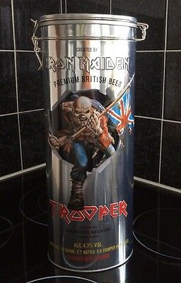 IRON MAIDEN TROOPER BEER ALE EMBOSSED TIN WITH CLIP LID Complete