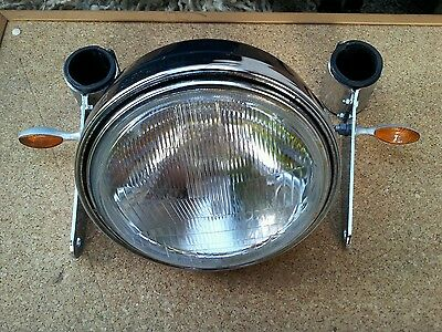 Large round streetfighter motorcycle headlight & brackets