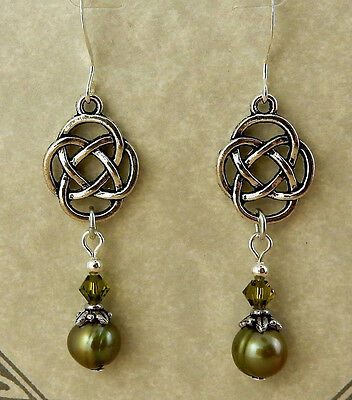 Irish silver Celtic Knot beaded earrings w/ green pearls & Swarovski crystals