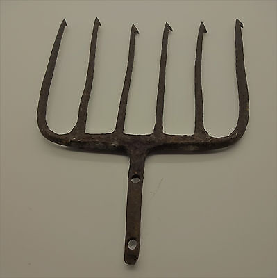 Antique Iron Fishing Eel Frog Gig Spear Hand Forged 6 Prong Primitive NO RESERVE