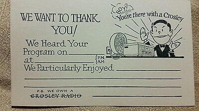 VINTAGE new old stock CROSLEY RADIO Program  Advertising Compliment Postcard