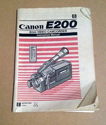 CANON Camcorder E200 8mm Instruction Manual Video Camera Vintage