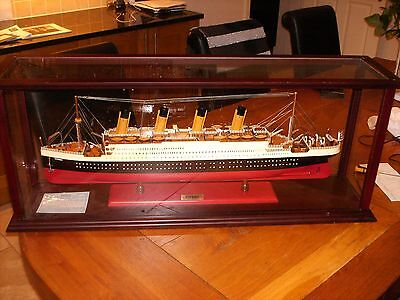 Titanic Model In Wooden/perspex Case- Hand Built- Fine Model Of This Great Ship