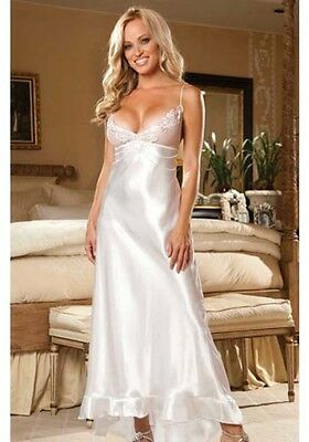 """NWT Beautiful Size """"S"""" Shirley of Hollywood Long White Charmeuse 60% Off"""