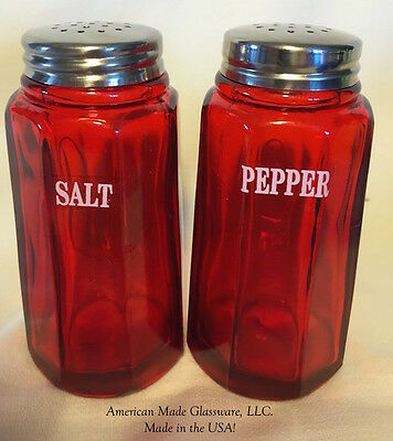 Red Glass Paneled Salt & Pepper Shaker Set w/ White Lettering