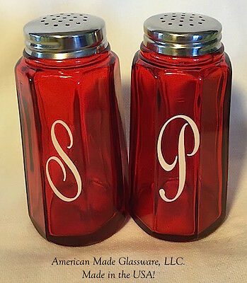 Red Glass Paneled Salt & Pepper Shaker Set w/ White S P