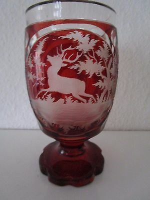 Antique Bohemian Ruby Red Cut To Clear Glass Vase Bohemia c. 1860 Hunting Motive