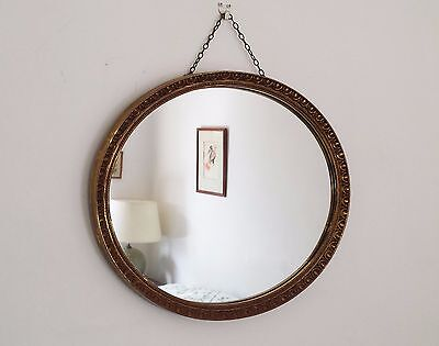 Vintage Retro 1960's Antique Regency Style Oval Gilt Resin Wall Hall Mirror