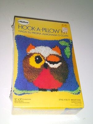 """Vintage Malina Owl Latch Hook Kit 12 X 12 Pillow Sealed New In Box """"Bright Owl"""""""