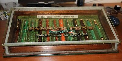 1915 PARKER LUCKY CURVE GLASS Wood 24 Fountain  Pen Display Case Heavy 10lbs