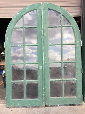 Br 1 Set Antique 8 Foot Arch Top French Doors Exterior