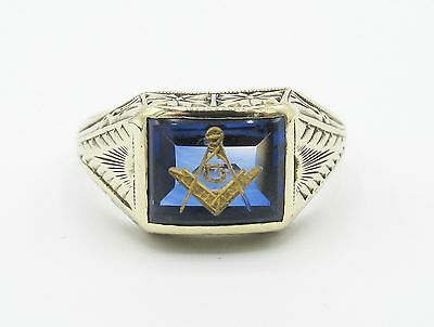 Vintage Art Deco Mens Masonic Ring Synthetic Sapphire 10k Yellow Gold Engraved