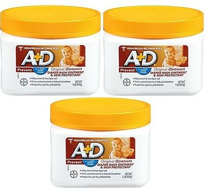 3 Pack A+D Original Diaper Rash & Skin Protectant Ointment 16 Oz Each