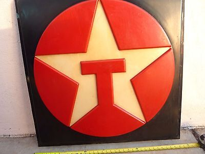 Vintage embossed Texaco Gas Station Motor Oil Advertising Light Up Sign Face Htf