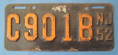 1952 New Jersey motorcycle license plate