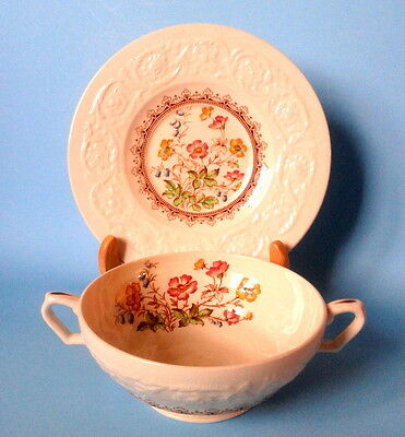 Rare Booths c.1930s Corinthian Wild Rose Two Handled Embossed Soup Bowl & Saucer
