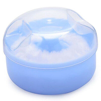 Baby Soft Face Body Cosmetic Powder Puff SEonge Box Case Container (Blue) SE