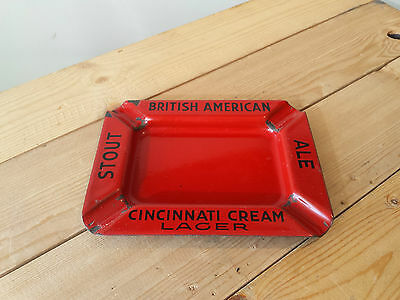 RARE Vintage CINCINNATI CREAM Lager - British American Ale Metal Enamel Ashtray