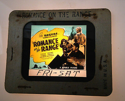 1940S Roy Rogers Glass Movie Coming Attraction Slide Romance On The Range