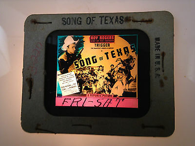 1940S Roy Rogers Glass Movie Coming Attraction Slide Song Of Texas