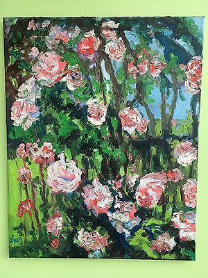 Original Oil Painting Large Canvas-Pink Rose Bushes-Excellent condition-Only One