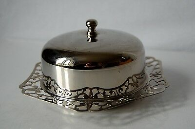 Vintage Imperial Silver Plated & Glass Butter Dish