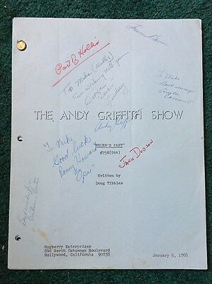 "THE ANDY GRIFFITH SHOW-1968 Episode ""Helen's Past""-Signed By Cast!-ORIG. SCRIPT"